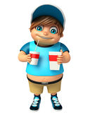 Kid boy with Cold Drink. 3d rendered illustration of kid boy with Cold Drink Royalty Free Stock Photos