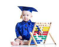 Kid boy with counter toy Royalty Free Stock Photos