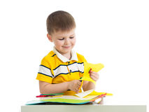 Kid boy cut paper Stock Photography