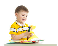 Kid boy cut paper Royalty Free Stock Photography
