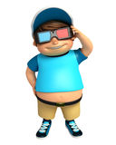 Kid boy with 3D goggle Stock Photography