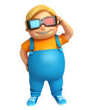 Kid boy with 3D goggle. 3d rendered illustration of kid boy with 3D goggle Stock Photos