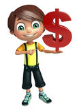 Kid boy with dollar Stock Images