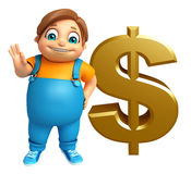 Kid boy with dollar sign Stock Photo