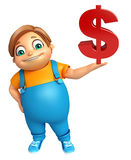 Kid boy with Dollar sign Royalty Free Stock Photography