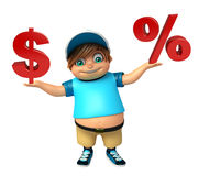 Kid boy with Dollar sign & percentage sign Royalty Free Stock Photos