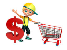 Kid boy with dollar sign & trolly Royalty Free Stock Photography