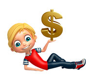Kid boy with Doller sign Stock Images