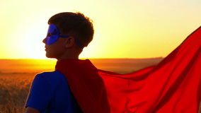 Kid boy dressed in a superman costume staring into the distance at sunset.