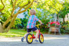 Kid boy driving tricycle or bicycle in garden Royalty Free Stock Photography