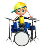 Kid boy with drum Royalty Free Stock Images