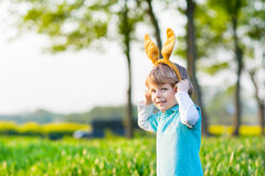 Kid boy with Easter bunny ears, celebrating holiday Royalty Free Stock Photography