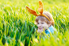 Kid boy with Easter bunny ears, celebrating holiday Stock Photography
