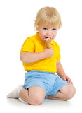 Kid boy eating ice cream Stock Image