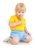 Kid boy eating ice cream Stock Photo