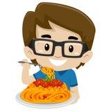Kid Boy Eating Spaghetti royalty free illustration