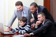 Kid boy explains how to make money Royalty Free Stock Photos