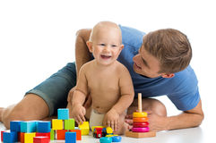 Kid boy and father playing together Stock Photo