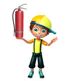 Kid boy with  fire extinguisher. 3d rendered illustration of kid boy with fire extinguisher Stock Photo