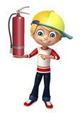 Kid boy with  fire extinguisher. 3d rendered illustration of kid boy with fire extinguisher Royalty Free Stock Photography
