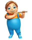 Kid boy with Flute Royalty Free Stock Image