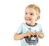 Kid boy with a funny face expression Stock Photography