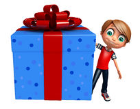 Kid boy with giftbox. 3d rendered illustration of kid boy with giftbox Royalty Free Stock Images