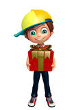 Kid boy with giftbox. 3d rendered illustration of kid boy with giftbox Stock Images