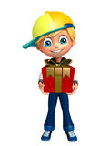 Kid boy with giftbox Stock Photo