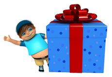 Kid boy with Giftbox. 3d rendered illustration of kid boy with Giftbox Stock Photo
