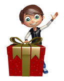 Kid boy with giftbox. 3d rendered illustration of kid boy with giftbox Stock Photos