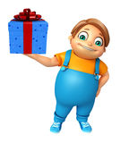Kid boy with Giftbox. 3d rendered illustration of kid boy with Giftbox Royalty Free Stock Image