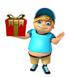 Kid boy with Giftbox. 3d rendered illustration of kid boy with Giftbox Royalty Free Stock Photo