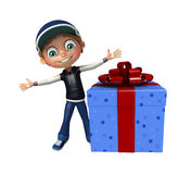 Kid boy with giftbox. 3d rendered illustration of kid boy with giftbox Stock Image