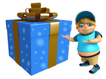 Kid boy with Giftbox. 3d rendered illustration of kid boy with Giftbox Royalty Free Stock Photos