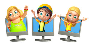 Kid boy and girl with Funny pose Royalty Free Stock Photo