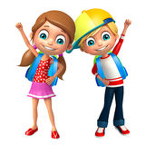 Kid boy and girl with School bag Stock Image