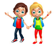 Kid boy and girl with School bag. 3d rendered illustration of Kid boy and Kid girl with School bag Stock Photography