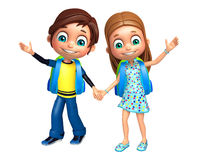 Kid boy and girl with School bag Stock Images
