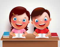 Kid boy and girl vector characters studying together doing homework. And writing notes in desk table with white background. Vector illustration Royalty Free Stock Photography