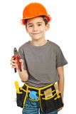 Kid boy giving pliers Royalty Free Stock Photo