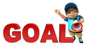 Kid boy with Goal sign & Loud speaker Royalty Free Stock Photography