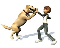 Kid boy and his dog. The boy is playing with his dog vector illustration
