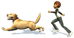 Kid boy and his dog running Stock Image