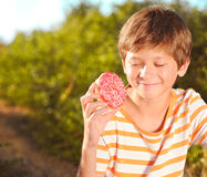 Kid boy holding donuts outdoors. Teenager boy holding pink glazed donut outdoors Stock Images