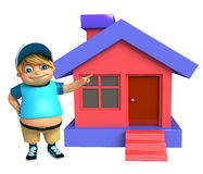 Kid boy with Home. 3d rendered illustration of kid boy with Home Stock Photography