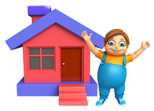 Kid boy with Home. 3d rendered illustration of kid boy with Home Royalty Free Stock Photos