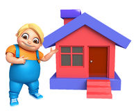 Kid boy with Home. 3d rendered illustration of kid boy with Home Royalty Free Stock Images