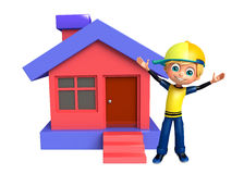 Kid boy with home. 3d rendered illustration of kid boy with home Stock Photo