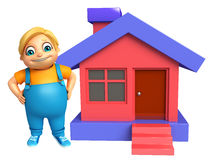 Kid boy with Home. 3d rendered illustration of kid boy with Home Stock Photos